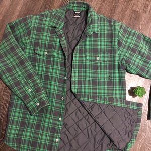Nike   m   plaid quilted lined jacket green & gray